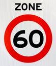 Zone 60 road sign Stock Photos