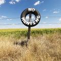 Zone sans le signe de chasse. Image stock