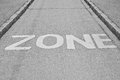 Zone sign print on the road Stock Photo