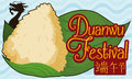 Zongzi Dumpling Over Leaves and Wave Pattern for Duanwu Festival, Vector Illustration