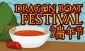 Zongzi Dumpling, Realgar Wine Bowl and Mineral for Duanwu Festival, Vector Illustration