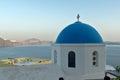 Zonsondergang in stad van oia santorini tira island cycladen Royalty-vrije Stock Foto's