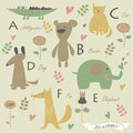 Zoo alphabet with a b c d f e letters cute alligator bear cat dog elephant fox and flowers in cartoon style Stock Photography