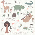 Zoo alphabet with cute animals Royalty Free Stock Photography