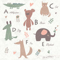 Zoo alphabet with cute animals Stock Photography