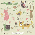 Zoo alphabet with letters cute numbat owl pig quail rabbit snail tiger and flowers in cartoon style Stock Photography
