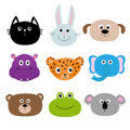 Zoo animal head face. Cute cartoon character set. Baby children education. Cat, rabbit, hare, jaguar, dog, hippopotamus, elephant, Royalty Free Stock Photo