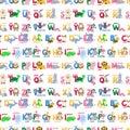 Zoo animals alphabet seamless pattern abc background cute cartoon wild characters illustration. Royalty Free Stock Photo