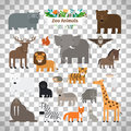 Zoo animals icons on transparent background