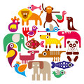 Zoo Animals - Round Vector Ill...
