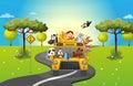 Zoologická záhrada autobus cestovanie naložený zvieratá