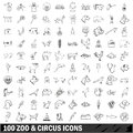 100 zoo and circus icons set, outline style