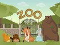 Zoo with forest animals vector image of cartoon Royalty Free Stock Photography