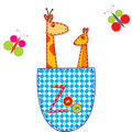 Zoo illustration with giraffe and kangaroo Royalty Free Stock Images