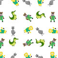 Zoo pattern with cartoon animal