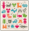 Zoo of robots coming from the other planets rare animals vector illustration Stock Photo