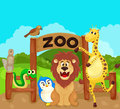Zoo sign with animals illustration of Royalty Free Stock Photography