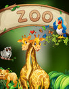 Zoo sign and many animals illustration Stock Images