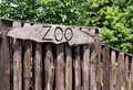 Zoo sign on a wooden board Stock Image