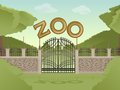 Zoo vector image of cartoon zoological garden background Royalty Free Stock Images