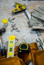 Zoom of carpenters tools Royalty Free Stock Photo