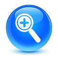 Zoom in icon glassy cyan blue round button Royalty Free Stock Photo