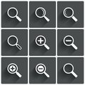 Zoom icons search symbols magnifier glass signs illustration Royalty Free Stock Photos