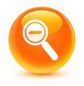 Zoom out icon glassy orange round button