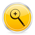 Zoom in yellow circle icon Stock Photo
