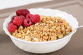 Zoomed golden cereals with berries with spoon chromed Stock Image