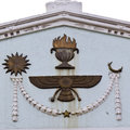 Zoroastrian symbols on the fronton of parsi temple ahmadabad gujarat Stock Photos