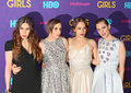 Zosia mamet lena dunham jemima kirke and allison williams the fabulous foursome of girls actresses arrive on the red carpet for Stock Photography