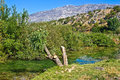 Zrmanja river and velebit mountain pure green water of Stock Photography