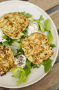 Zucchini cakes savory with goats cheese and fresh salad Stock Image