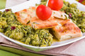 Zucchini focaccia with broccoli. Royalty Free Stock Photo