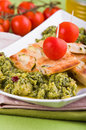 Zucchini focaccia with broccoli. Royalty Free Stock Photography