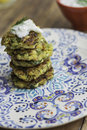 Zucchini fritters with tsatsiki sauce Royalty Free Stock Photos