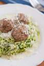 Zucchini Noodles with meatballs Royalty Free Stock Photography