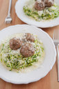 Zucchini Noodles with meatballs Royalty Free Stock Images