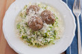 Zucchini Noodles with meatballs Stock Photography