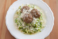 Zucchini Noodles with meatballs Stock Images