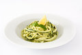 Zucchini noodles with pesto sauce  on white background Royalty Free Stock Photo