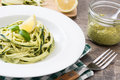 Zucchini noodles with pesto sauce Royalty Free Stock Photo