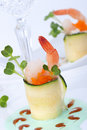 Zucchini Rolls with smoked salmon Royalty Free Stock Image