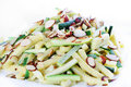 Zucchini strips and toasted almonds Royalty Free Stock Image