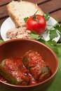 Zucchini stuffed with tuna a typical dish of traditional roman and italian cuisine made from bread crumbs and tomato sauce Royalty Free Stock Images