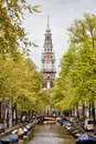 Zuiderkerk in amsterdam southern church netherlands view from the groenburgwal canal springtime Stock Photos