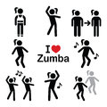 Zumba dance, workout fitness icons set Royalty Free Stock Photo