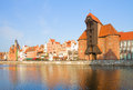 Zuraw and old embankment gdansk oldest crane poland Royalty Free Stock Photo