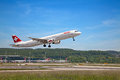 Zurich airport may swiss airlines airbus a taking off on may in switzerland international is one of the major Stock Image